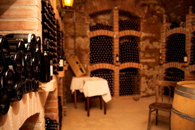 Basement, warehouse in which to store wine for serving on the table