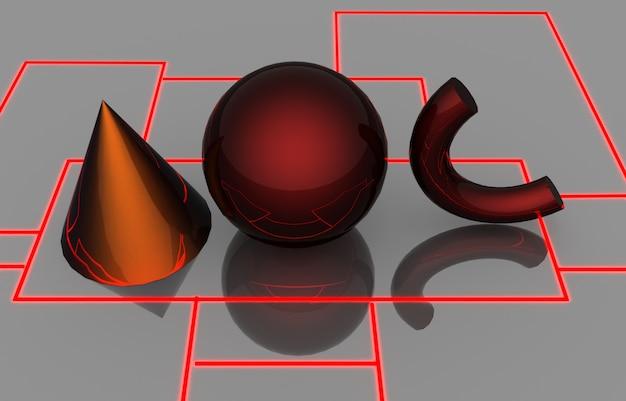 기본 기하학적 모양. 3d 그림