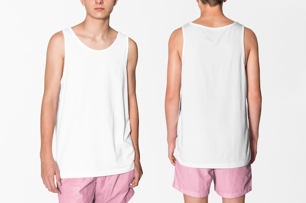 Basic men's white tank top and pink shorts summer apparel with design space