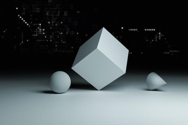 3dオブジェクトの基本的な形状、技術と情報の概念、3dイラストのレンダリング