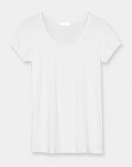 ベーシックな白いスクープネックtシャツレディースアパレル正面図