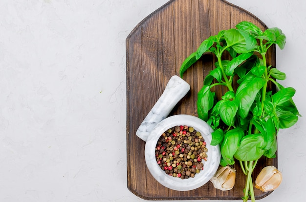 Basil leaves and peper spice