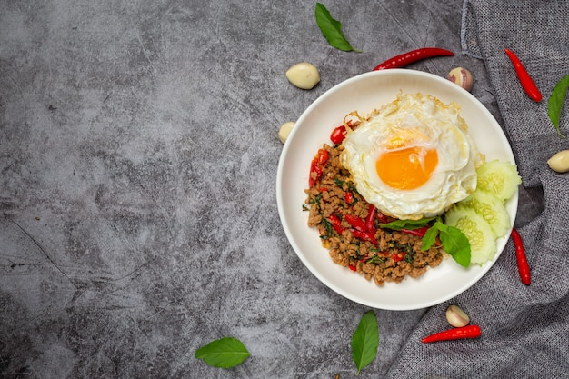 Basil minced pork with rice and fried egg