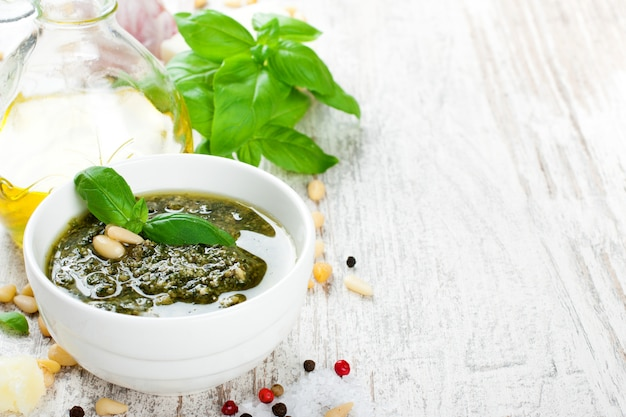 Basil pesto sauce and fresh ingredients