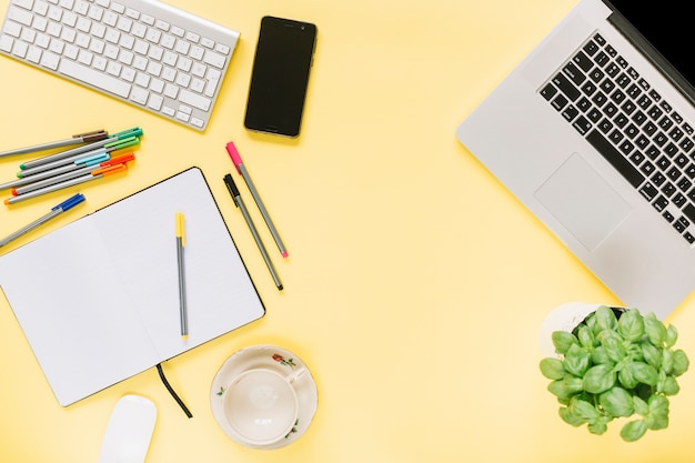 Basil potted plant; stationery ; cellphone; keyboard and laptop on yellow background