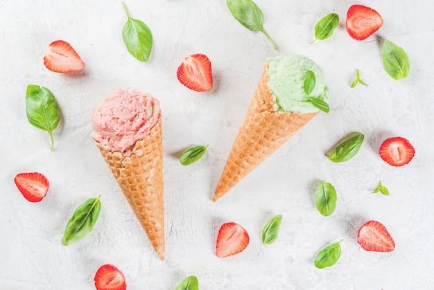 Basil and strawberry ice cream