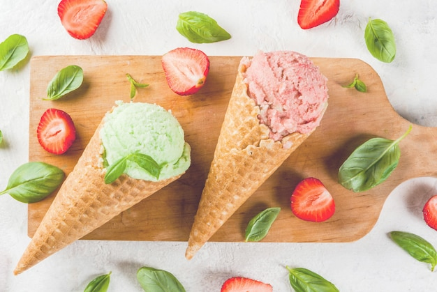 Basil and strawberry ice cream