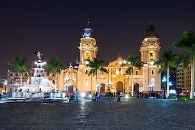 Basilica cathedral in lima city in peru