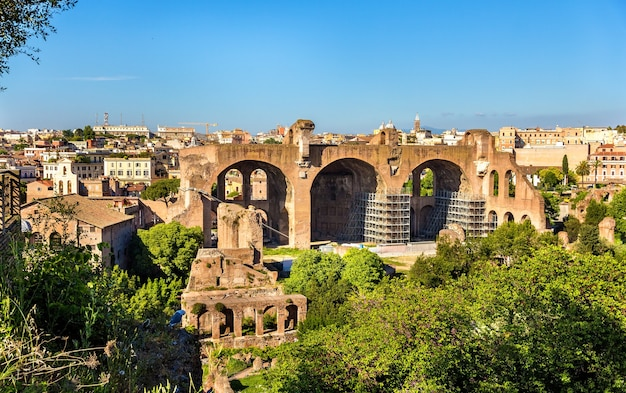 Basilica of maxentius and constantine, ruins in the roman forum in rome