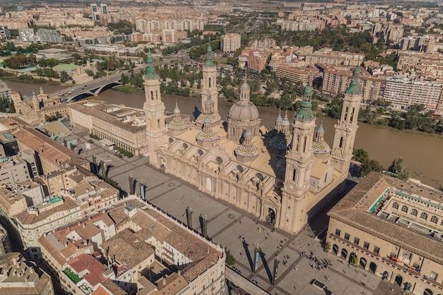 サラゴサの柱の聖母大聖堂。航空写真
