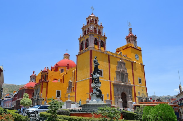 Basilica of our lady of guanajuato, beautiful yellow church of the city of guanajuato, mexico.