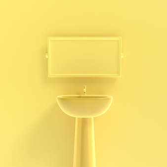 Базис и зеркало макет желтый пастельный фон минимальная концепция, 3d визуализации.