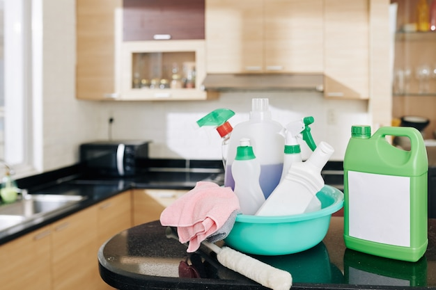 Basin with cleaning detergents