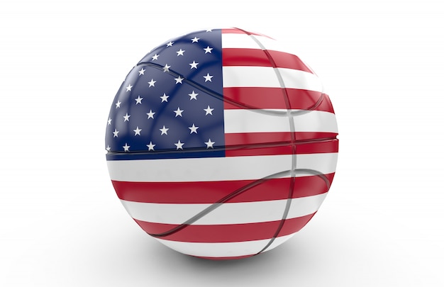 Basket ball with usa flag