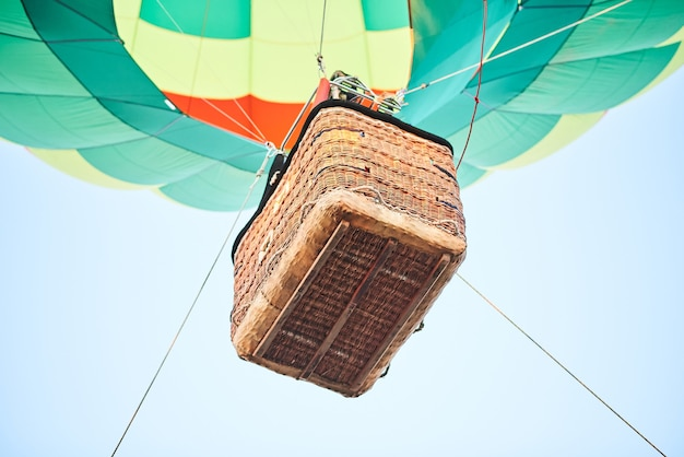 The basket of the balloon from below