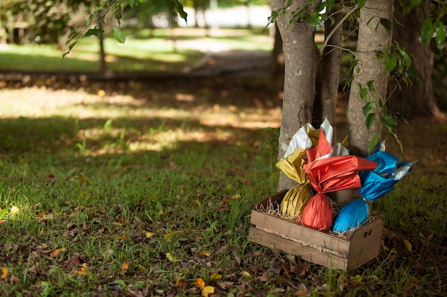 Basket of brazilian easters eggs under a tree