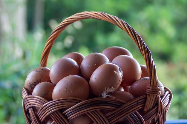 Basket of eggs. blurred background.