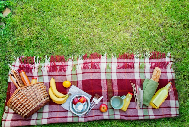 바구니 음식 과일 체크 무늬 피크닉 배경