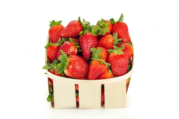 Basket of fresh strawberries isolated