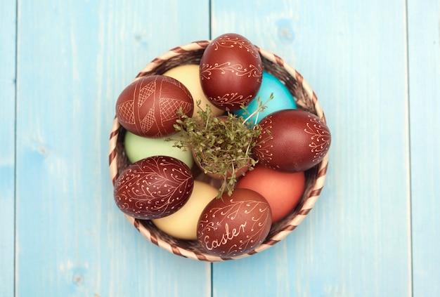 Basket full of carved easter eggs