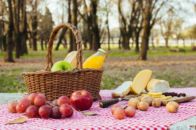Basket full of goodies outdoors