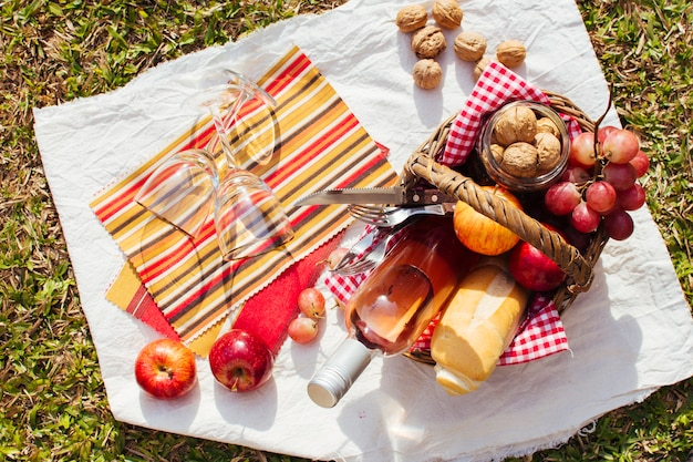 Basket full of goodies ready for picnic