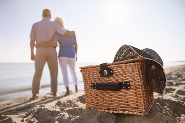 Basket is ready for picnic on the beach