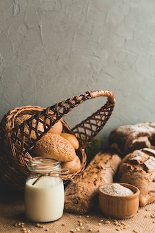 Basket of loaves with golden crust