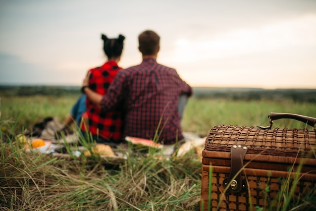 Basket, love couple sitting on plaid, back view, picnic in summer field. romantic junket, man and woman leisure together