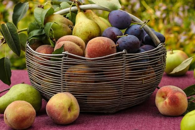 秋の果物のバスケット:庭のテーブルの上のリンゴ、ナシ、プラム、桃、果物のいくつかはテーブルの上にあります、水平方向、クローズアップ