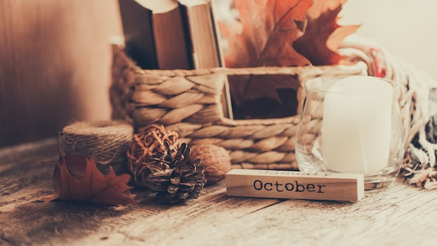 Корзина с книгами и осенними листьями на фоне дерева