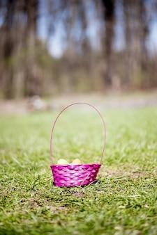 フィールドの緑の草の上のカラフルなイースターエッグのバスケット