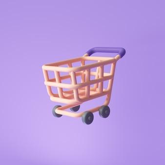 온라인 쇼핑을 위한 보라색 배경 개념의 바구니 또는 쇼핑 카트 아이콘. 3d 렌더링 그림입니다.
