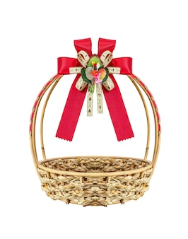 Basket and ribbon isolate on white background