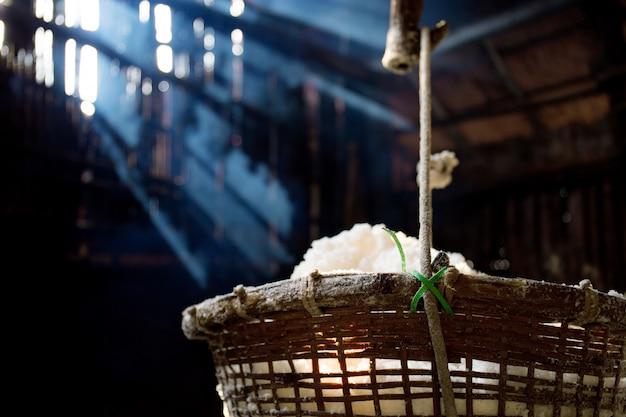 Basket of salt with sunlight.