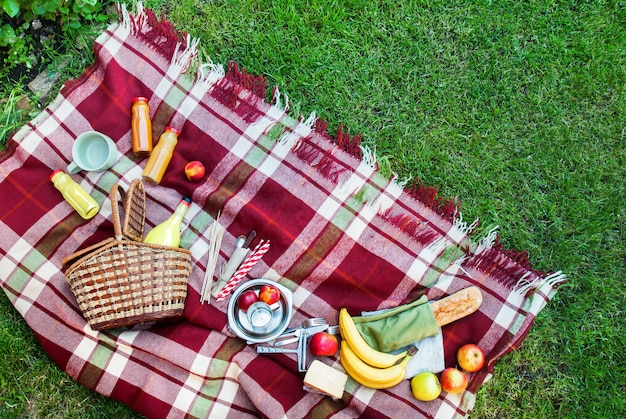 Basket setting food fruit checkered plaid picnic grass