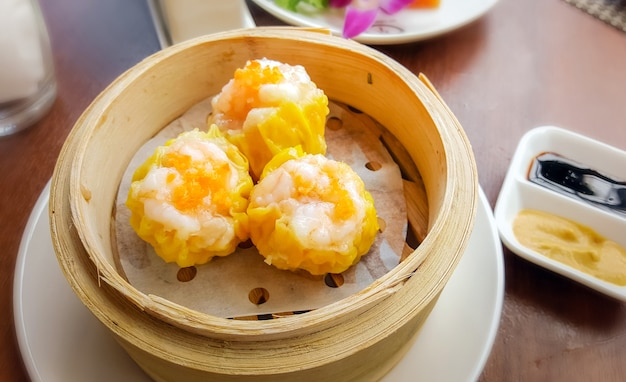 Basket of shumai a traditional chinese dumpling usually served as dim sum