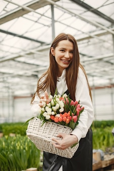 Basket of tulips. gardener in an apron. girl in a greenhouse.
