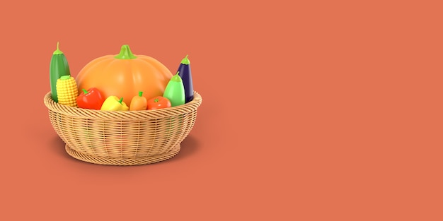A basket with an autumn harvest of vegetables on a red colored background. pumpkin, corn, zucchini, eggplant, tomato, pepper in a cartoon style. 3d rendering.