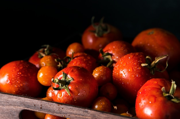 Корзина с осенними помидорами Premium Фотографии