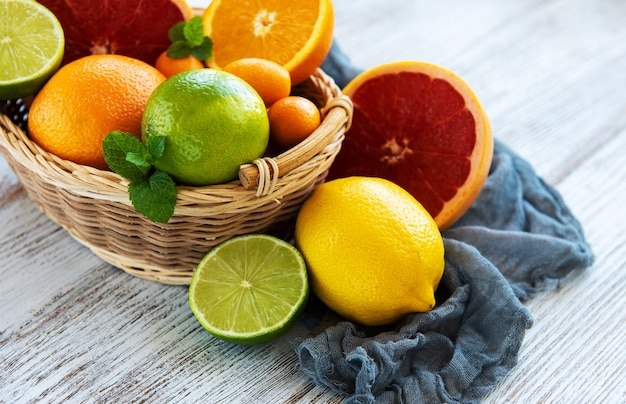 Basket with citrus fresh fruits