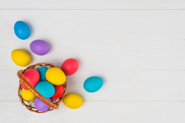 Basket with easter eggs on table