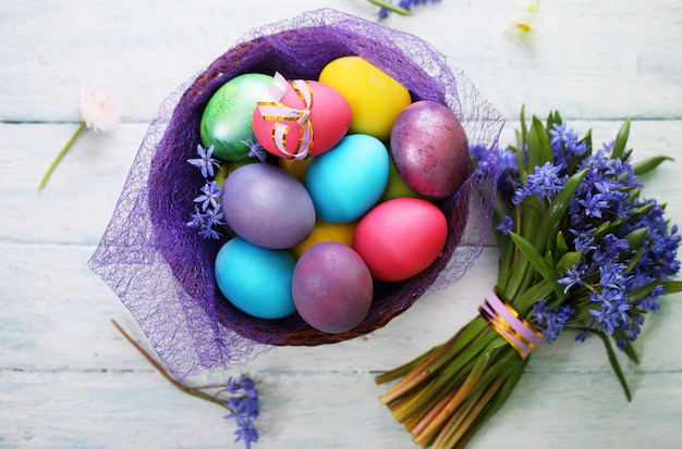 Basket with easter eggs. top view
