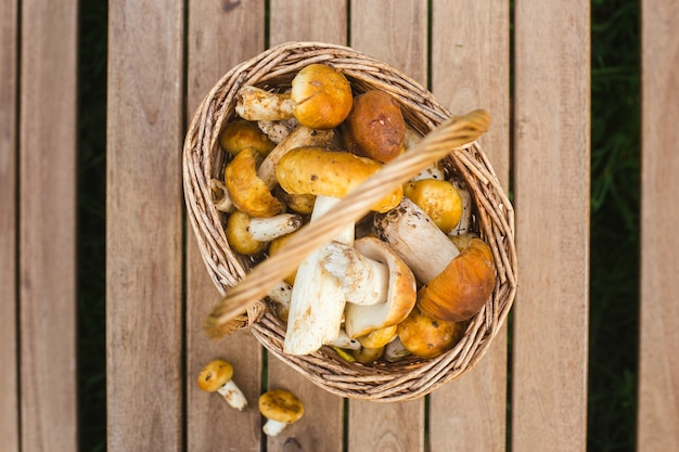 Корзина со съедобными грибами на деревянном столе фото высокого качества