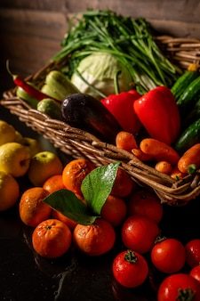 Basket with fresh fruits and vegetables healthy food natural fruits and vegetables