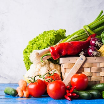 Basket with healthy raw vegetables