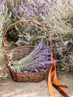 Basket with a lavender and vintage scissors, provence, france.