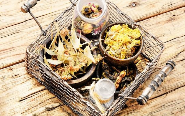 Basket with medicinal herbs