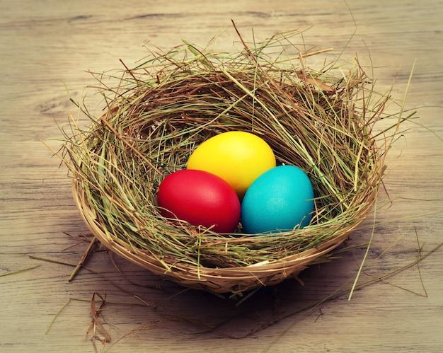 둥지와 색 계란 바구니