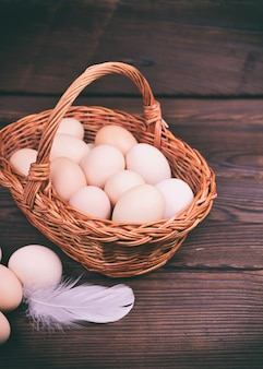Basket with raw chicken eggs